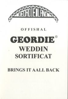 Offishal Geordie Weddin Sortificat